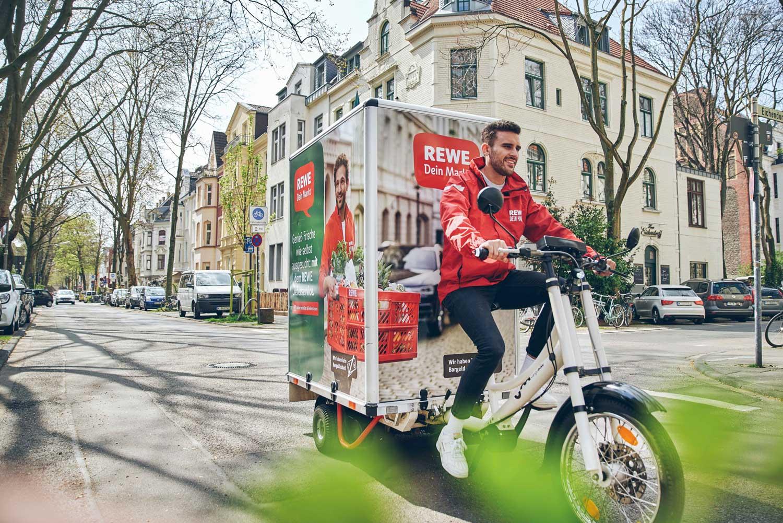 Tiefkühlpizza, geliefert mit dem Cargo-Bike